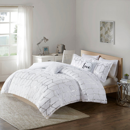 White & Metallic Silver Geometric Comforter Set AND Decorative Pillows (Raina-White)