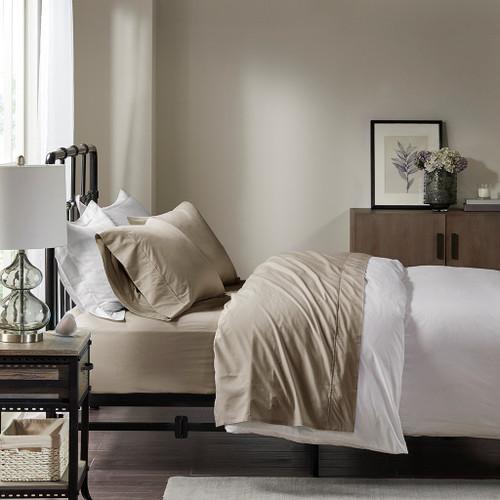 Khaki Brown Year Round Cotton Percale Sheet Set (Peached Percale-Khaki)