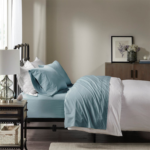 Teal Blue Year Round Cotton Percale Sheet Set (Peached Percale-Teal)
