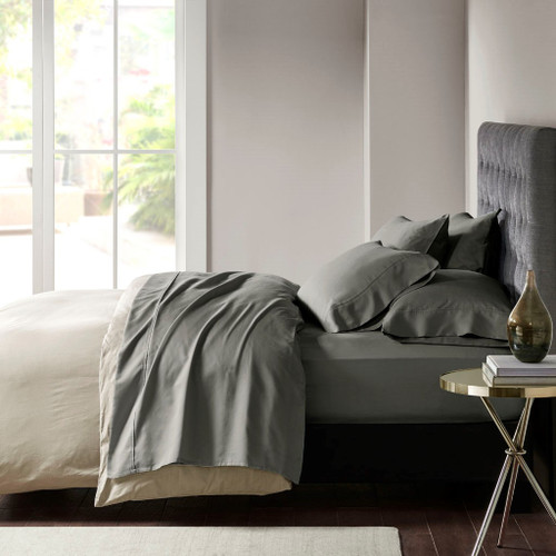 6pc Charcoal Grey 800TC Cotton Rich Sateen Sheet Set (800 Thread Count Cotton-Charcoal Grey)