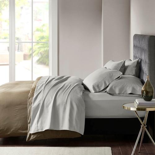 7pc Soft Grey 800TC Cotton Rich Sateen Sheet Set SPLIT KING (800 Thread Count Cotton-Grey-split king)
