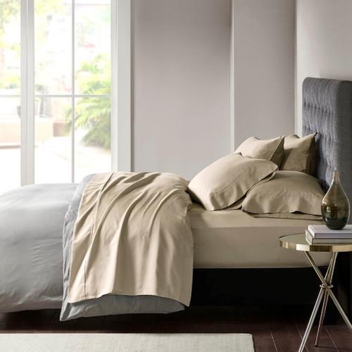 7pc Khaki Brown 800TC Cotton Rich Sateen Sheet Set - SPLIT KING (086569166142)
