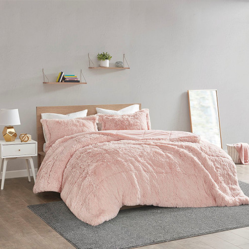 Blush Pink Shaggy Faux Fur Comforter AND Decorative Shams (Malea -Blush-Comf)