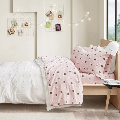 Pink & White Llamas Cotton Flannel Printed Sheet Set (Cozy Soft Cotton-Pink Llamas)