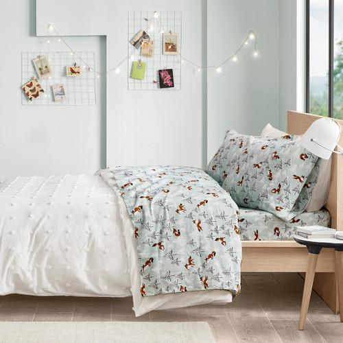 Seafoam Green Brown & White Foxes Cotton Flannel Printed Sheet Set (Cozy Soft Cotton-Seafoam Foxes)