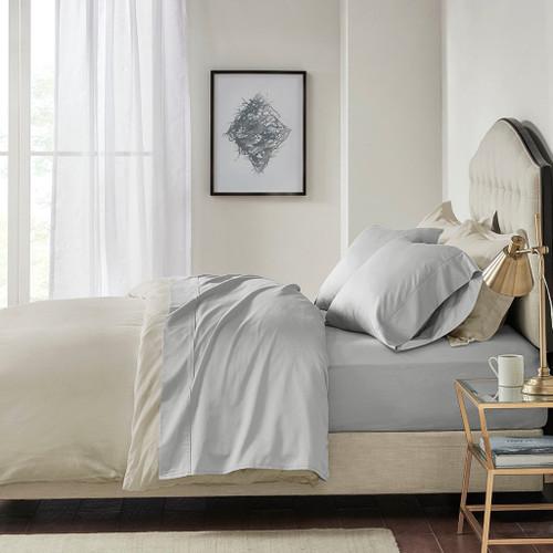 4pc Light Grey 600TC Pima Cotton Sheet Set (600 Thread Count Pima-Light Grey)