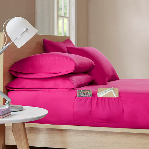 4pc Hot Pink TWIN XL Microfiber Sheet Set w/Side Storage Pockets (086569036612)
