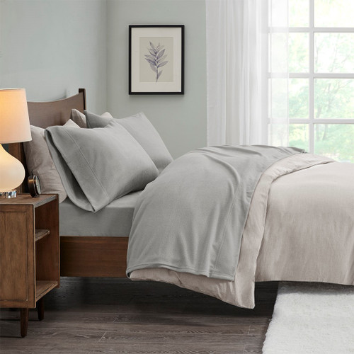 4pc Solid Grey QUEEN Micro Fleece Sheet Set (675716526665)