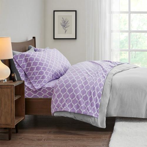 4pc KING Purple & White Ogee Design Micro Fleece Sheet Set (675716816087)