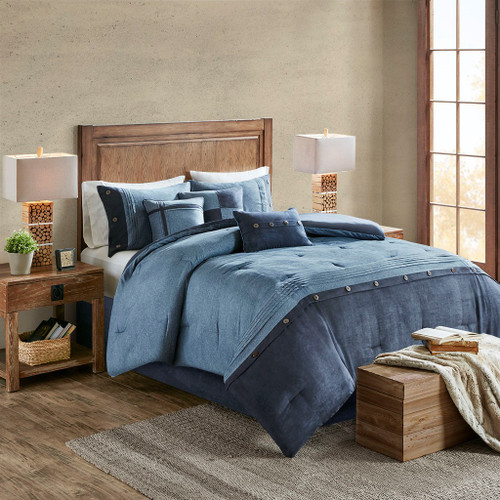 7pc Textured Navy Blue Microsuede Comforter Set AND Decorative Pillows (Boone-Dark Blue)