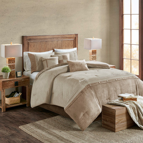 7pc Textured Shades of Tan Microsuede Comforter Set AND Decorative Pillows (Boone-Tan)