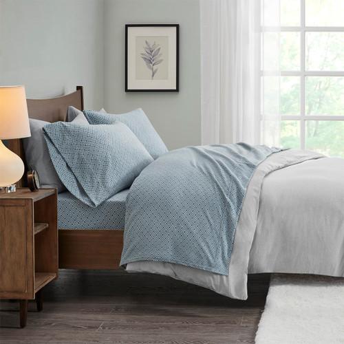 4pc KING Blue Diamond Design Micro Fleece Sheet Set (675716677541)