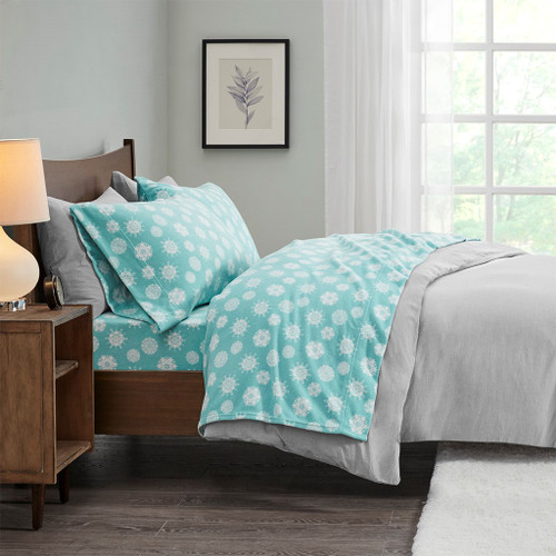 4pc FULL Blue & White Snowflake Micro Fleece Sheet Set (675716815721)