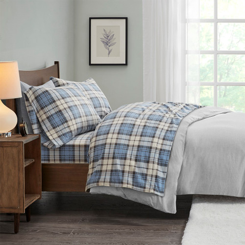 4pc FULL Blue & White Plaid Micro Fleece Sheet Set (675716528935)