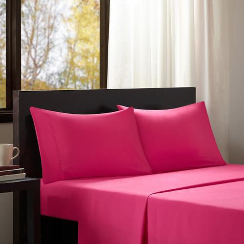 Hot Pink Year Round Microfiber Wrinkle-Free Sheet Set (Microfiber-All Season-Pink)