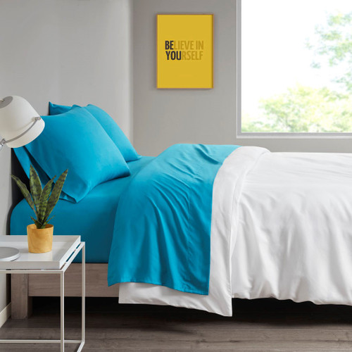 Teal Blue Year Round Microfiber Wrinkle-Free Sheet Set (Microfiber-All Season-Teal)