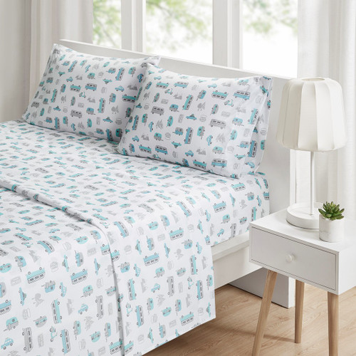 4pc Grey & Blue Road Trip QUEEN Novelty Printed Sheet Set (086569034199)