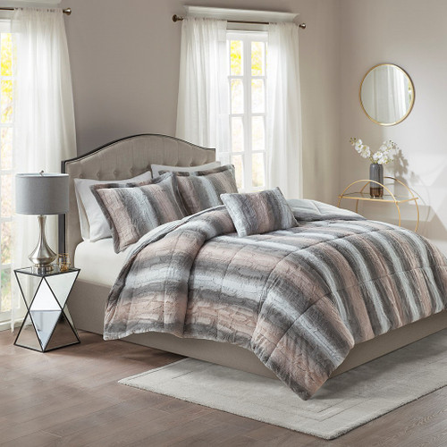 4pc Reversible Grey & Pink Faux Fur Comforter Set AND Decorative Pillow (Zuri-Blush/Grey)