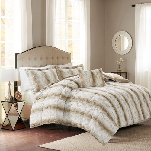 4pc Reversible Sandy Brown Faux Fur Comforter Set AND Decorative Pillow (Zuri-Sand)