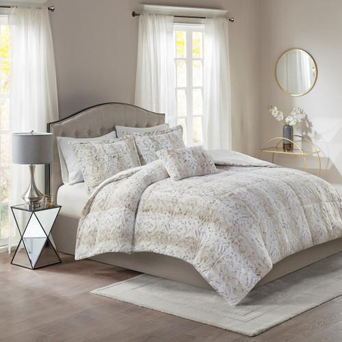 4pc Reversible Snow Leopard Print Faux Fur Comforter Set AND Decorative Pillow (Zuri-Snow Leopard)