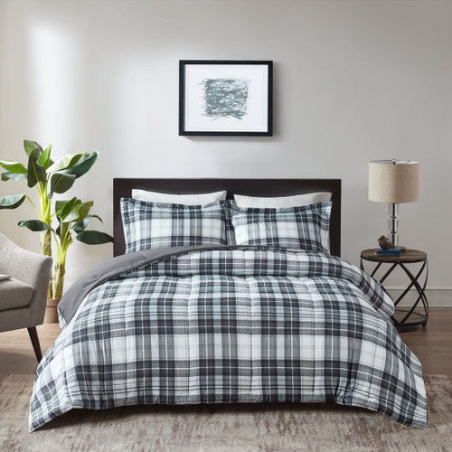 Black & White Traditional Plaid Reversible Comforter AND Decorative Shams (Parkston-Black/White)