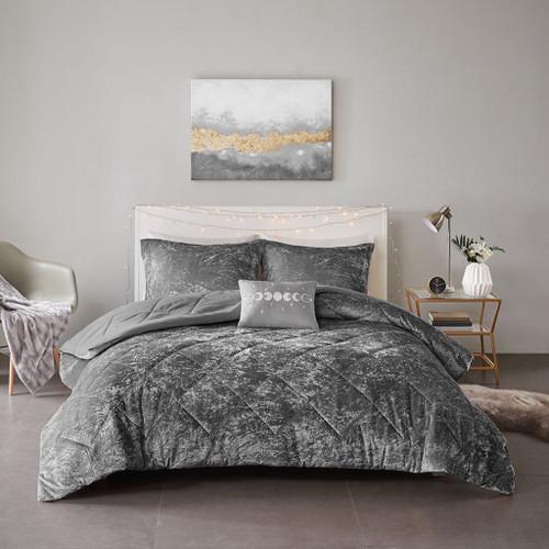 Solid Grey Lush Velvet Comforter Set AND Decorative Pillow (Felicia Velvet -Grey-Comf)