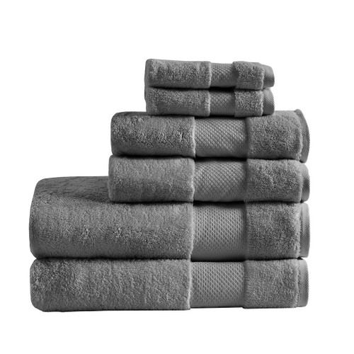 6pc Charcoal Grey Turkish Cotton Spa-Like Bath Towel Set (Turkish 6 Piece-Charcoal-Towels)