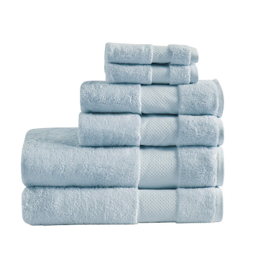 6pc Light Blue Turkish Cotton Spa-Like Bath Towel Set (Turkish 6 Piece-Light Blue-Towels)
