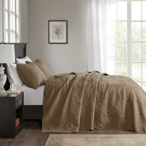 3pc Mocha Brown Quilted Bedspread Set AND Decorative Pillow Shams (Quebec-Mocha-cov)