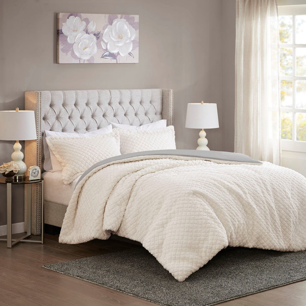 Ivory & Grey Reversible Sherpa to Faux Fur Comforter AND Decorative Shams (Adler-ivory/Grey-Comf)