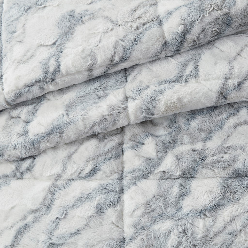 3pc Grey & Blue Marbled Pattern Faux Fur Comforter AND Decorative Shams (Lana-Grey/Blue-comf)