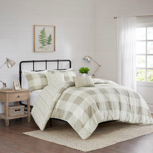 5pc Taupe Checkered & Striped Reversible Comforter Set AND Decorative Pillows (Morrison-Taupe-Comf)