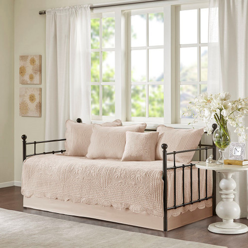 6pc Blush Pink Scalloped Edges Quilted Daybed Set AND Decorative Pillow (Tuscany-Blush-DB)