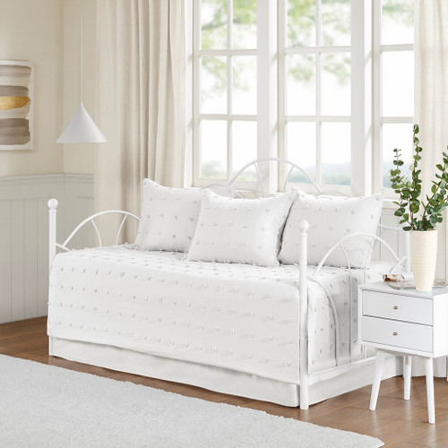 5pc Ivory on Ivory Cotton Tufts Daybed Set AND Decorative Shams (Brooklyn-Ivory-DB)