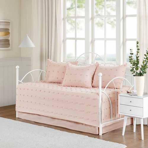 5pc Pink on Pink Cotton Tufts Daybed Set AND Decorative Shams (Brooklyn-Pink-DB)