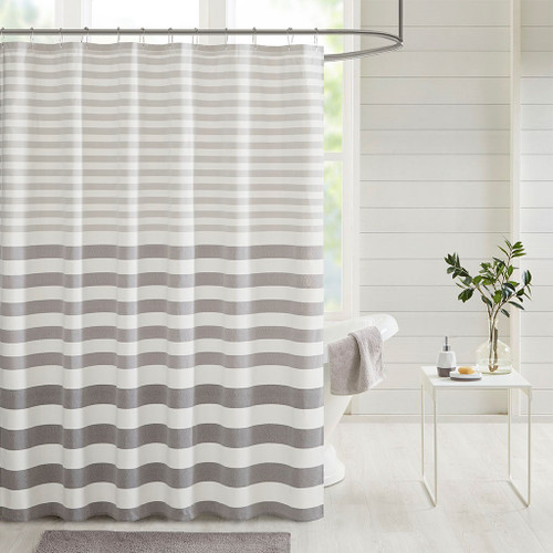 Shades of Grey Striped Fabric Shower Curtain - 72x72""