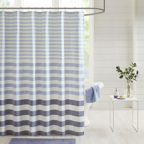 "Shades of Blue Striped Fabric Shower Curtain - 72x72"" (Aviana-Navy-Shower)"