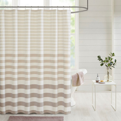 "Shades of Brown Striped Fabric Shower Curtain - 72x72"" (Aviana-Taupe-Shower)"