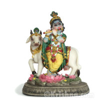 Krishna with Cow Figurine, 5""