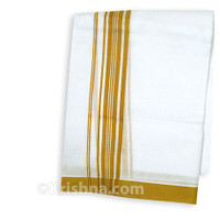"Summer Cotton Dhoti, 1"" Simple Striped Border, Tilak"