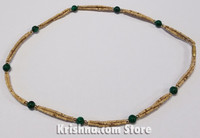 Triple Strand, Extra Thin Natural Tulasi Neck Beads, Green Jade