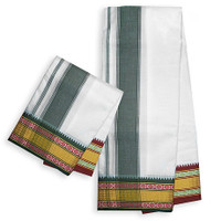 Festival Dhoti, Orange & Pale-Green