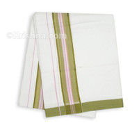 Summer Cotton Dhoti, Olive-Green & Pink