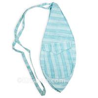 X-Large Khadi Bead Bag, Pocket, Blue Khadi