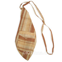 X-Large Khadi Bead Bag, Pocket, Tan Khadi