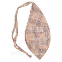 Large Plaid Khadi Bead Bag, Pocket, Brown & Orange Plaid