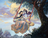 "Radha and Krishna on Swing Photo Print, 5""x7"""