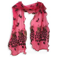 Girl's Peacock Dupatta, Pink & Gold