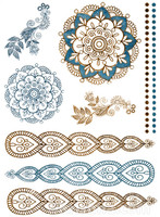 Metallic Temporary Tattoos, Mandala Temple, Gold & Silver