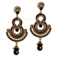 Draupadi Dance Earrings, Black Satin